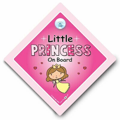 Little PRINCESS On Board Car Sign, PINK FAIRY, Baby On Board Sign, Suction Cup