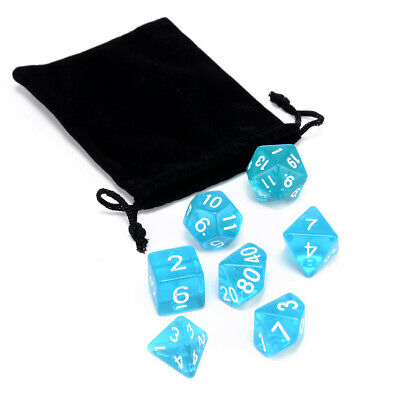 7Pcs Multi-Side D4-D20 Dices w/ Bag For DND MTG RPG Table Board Games Party