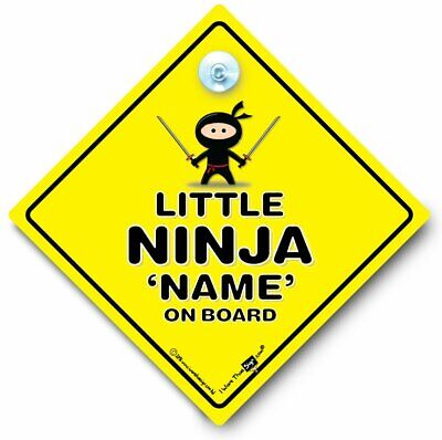 Little Ninja On Board Car Sign, PERSONALISED Baby On Board Sign, Baby Car Sign