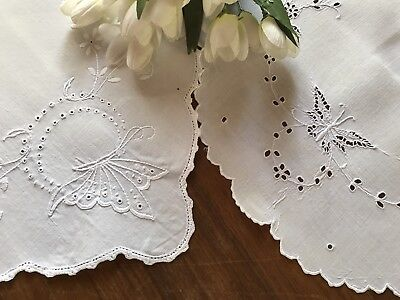 2 Antique Linen Butterfly Runners Hand Embroidered