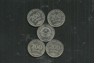 Vietnam Coin $200 Dong Lot Of 5 From 2005