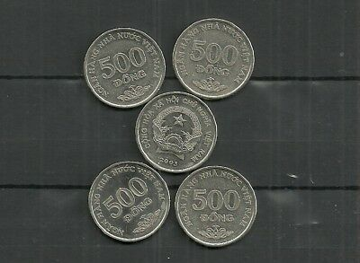 Vietnam Coin $500 Dong Lot Of 5 From 2005