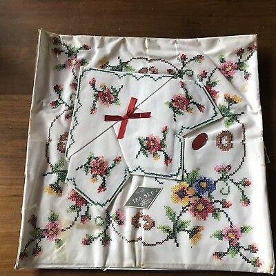 Vintage Swiss Cotton Hand Embroidered Linen Tablecloth Napkins Pink Blue