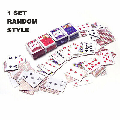 1 Set 1/12 Scale Cute Mini Poker Playing Cards For Dollhouse Accs Style Random