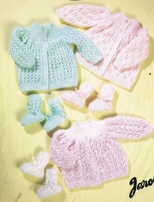 Baby Knitting Pattern copy 8 Ply Includes Premmie MATINEE Coats & Bootees