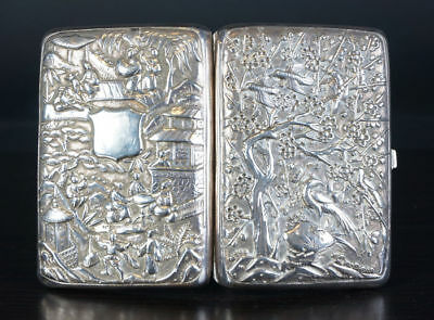 19Th Century China Chinese Export Sterling Silver Card Case 古董纯银名片盒