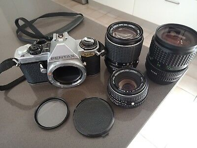 Pentax ME Super 35mm SLR film camera + 3 x Pentax Asahi lenses 35mm 50mm 35-70mm
