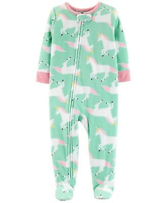 NEW Carter's Girls 1 Piece Fleece Unicorn PJs NWT 6 7 8 10 12 Pajamas Footed