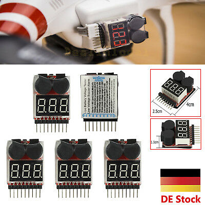 5x Lipo Alarm Piezo Tester Low Voltage Buzzer Checker Warner Akku Saver Spannung