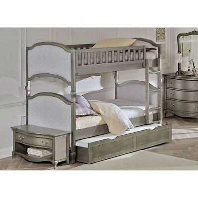 NE Kids Kensington Antique Silver Victoria Twin Bunk Bed with Trundle - 30031NT