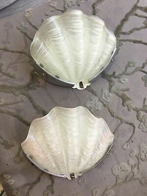 pair antique art deco white shell chrome wall lights