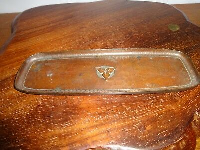 Antique Roycroft Hand Hammered Copper Trefoil Pen Tray - Early Mark Arts Crafts