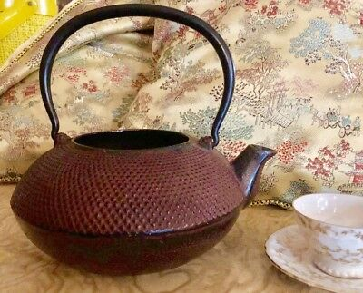 Vintage SIGNED Red Hobnail Cast Iron Tetsubin Japanese Teapot Kettle  *RARE*