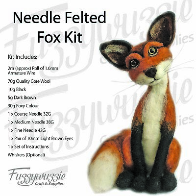 Needle Felting Fox Kit by Fuzzywuzzie