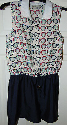 Girls' Age 11 Years 'Glasses' All-In-One/Short-Suit by Next, Very Good Condition