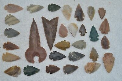 "30 PC Flint Arrowhead Ohio Collection Points 2-3"" Spear Bow Knife Hunting Blade"