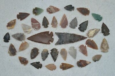 "36 PC Flint Arrowhead Ohio Collection Points 2-3"" Spear Bow Knife Hunting Blade"