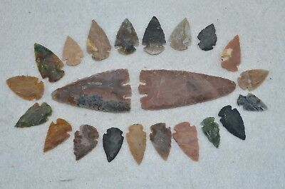 "22 PC Flint Arrowhead Ohio Collection Points 2-3"" Spear Bow Knife Hunting Blade"