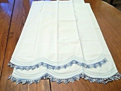 Vintage Hand Tatted Cotton Pillow Cases *Bed Linens* Shades of Blue