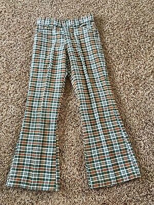 BILLY THE KID boy 9 plaid bell bottom Permanent Press pant Brady Bunch VTG 1970