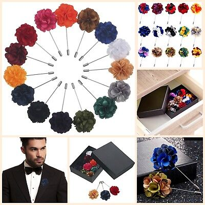 Gift Box Of 15 Mens Lapel Pin Set With Handmade Flower Boutonniere For Suit New