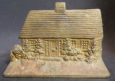 "Vintage Cast Iron Country Cottage Door Stop Brass Finish 8.63"" x 6"" x 2"" V Good"