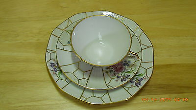 Tea Cup Saucer Plate White Gold Purple France 772 Limoges 3 Tier Flowers