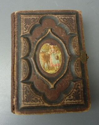 Antique 1800s Leather Bound Hasped Photo Album With Tintypes & Cabinet Cards