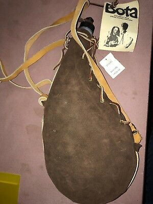 New Rare Vintage Leather Wrapped Water Wine Bota Bag Canteen Hand Made