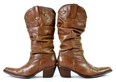 ede1a0ed44d Steve Madden Saddle Brown Leather Slouch Cowboy Boots Western Womens Size 8  M