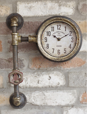 Industrial Style Pipe Wall Clock Retro Vintage Metal Steampunk Urban Warehouse