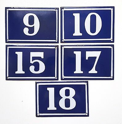 Antique French house number Blue enamel 9 10 15 17 18 Door street sign plate