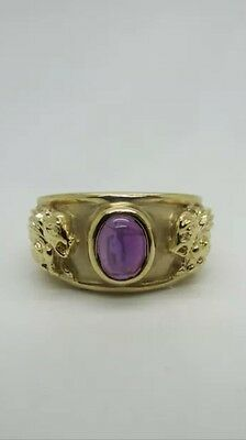 14K Yellow Gold Pretty Oval Shaped Cabochon Amethyst Ring with Lion size 8