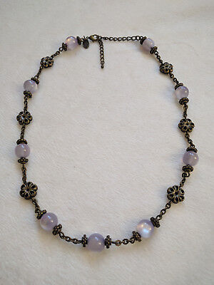 Per Una necklace with lavender cats eye effect beads, antique bronze tone chain