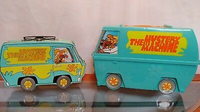2 Vintage Mystery Machine / Scooby Doo Lunchboxes, Plastic & Tin, No Thermos