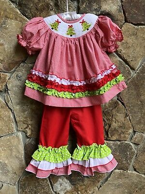 Smocked A Lot Girls Christmas Tree Bishop Dress Red Corduroy Santa Green Outfit