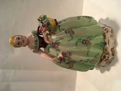 Vintage Porcelain Figurine - Lady with Basket of Flowers - signed 'Italy'