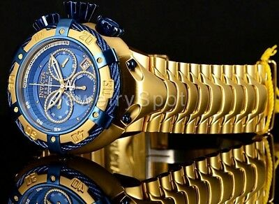21347 Invicta Reserve 56mm THUNDERBOLT Swiss Chronograph Blue Dial SS GP Watch