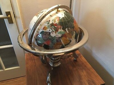 Stunning Large 100 Cm Circumference Mother Of Pearl And Gemstone World Globe