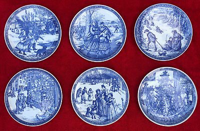 """Spode Blue Room Victorian Christmas Plates  8 1/4"""" Series Of 6 Mint Condition"""