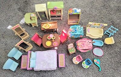 HUGE LOT Fisher Price Loving Family Dollhouse Playset Living Room Kitchen Bed