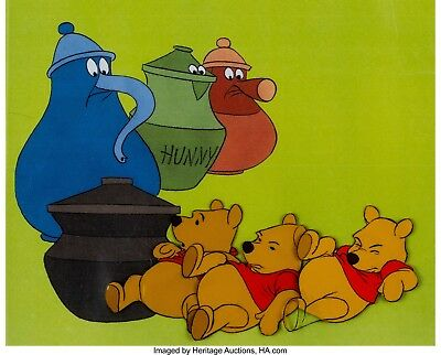 1968 Winnie the Pooh & the Blustery Day Pooh Production Cel Sequence of 3 Disney