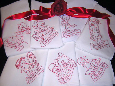 TURKEY RED Hand Embroider Vtg Towel Day of Week Set Wash Basin Cloth NEVER USED!