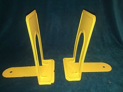 Vintage Highsmith Metal Steel Yellow Bookends Library School Playroom Book Ends