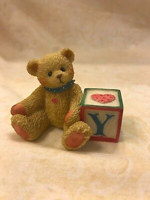 "Cherished Teddies Alphabet Name Letter ""Y"" Block, 1995 Priscilla Hillman Enesco"