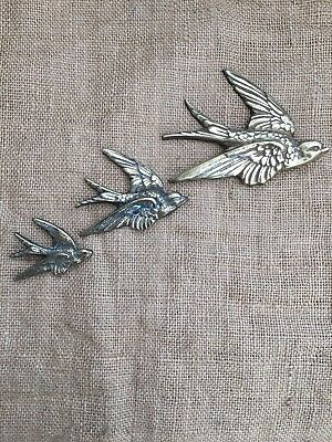 Set of 3 Vintage Art Deco Cast Brass Flying Swallows Graduated Birds Wall Plaque