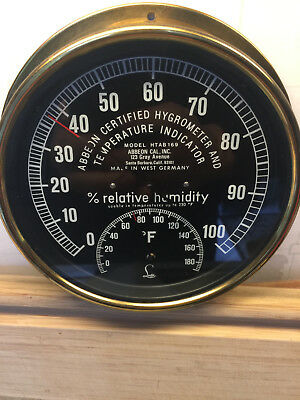 Vintage ABBEON Certified Hygrometer and Temperature Indicator Made in W Germany