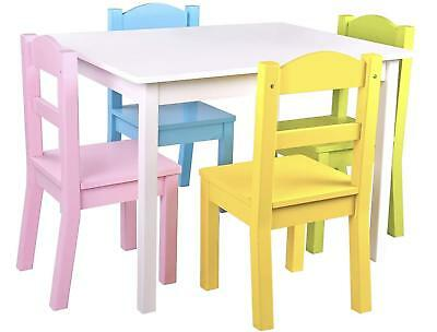 2bf274d06cc Wooden Table and Chairs Set White   Pastel - 4 Chairs and 1 Activity Table  for