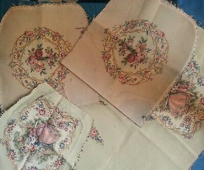 vintage old tapestry needlework  seat chair covers  fabric