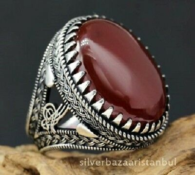 Turkish Mens Ring Red Carnelian yemeni Agate Aqeeq 925 sterling silver All size